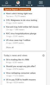 Screenshot: LinkedIn's Popular News