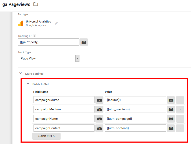 Screenshot: GTM Pageviews Tag Fields To Set Dynamic Source Tracking