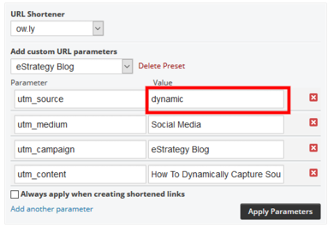 Screenshot: UTM Parameters Using Hootsuite With Dynamic Source