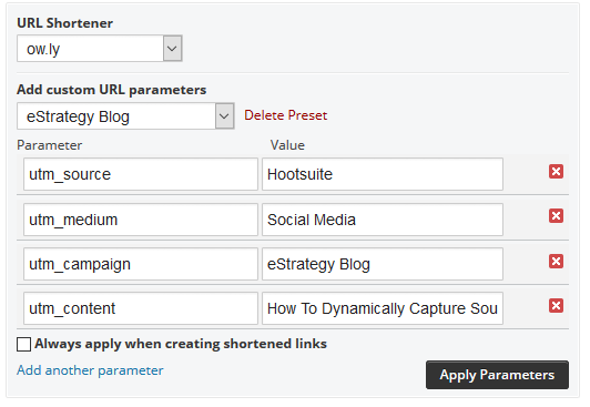 Screenshot: UTM Parameters Using Hootsuite