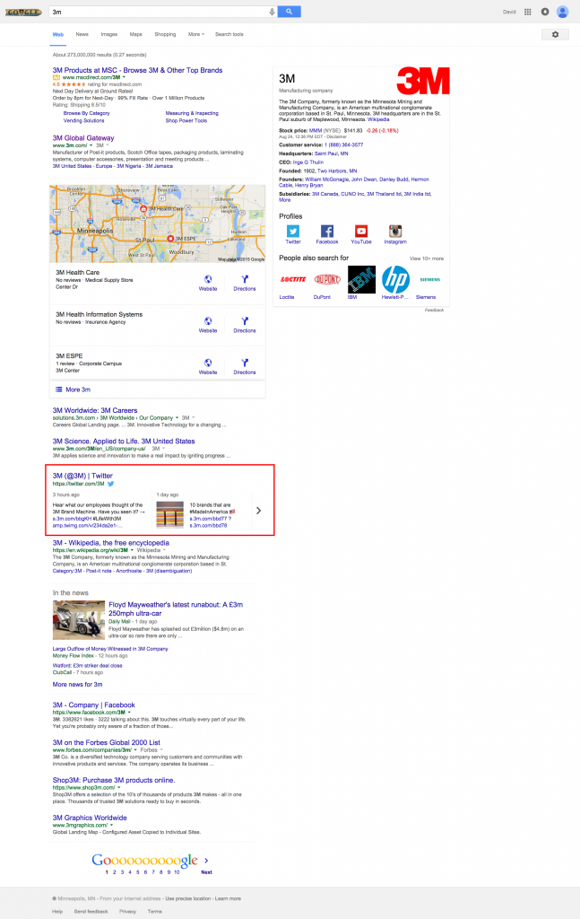 Screenshot: 3M Tweets In Google SERPS