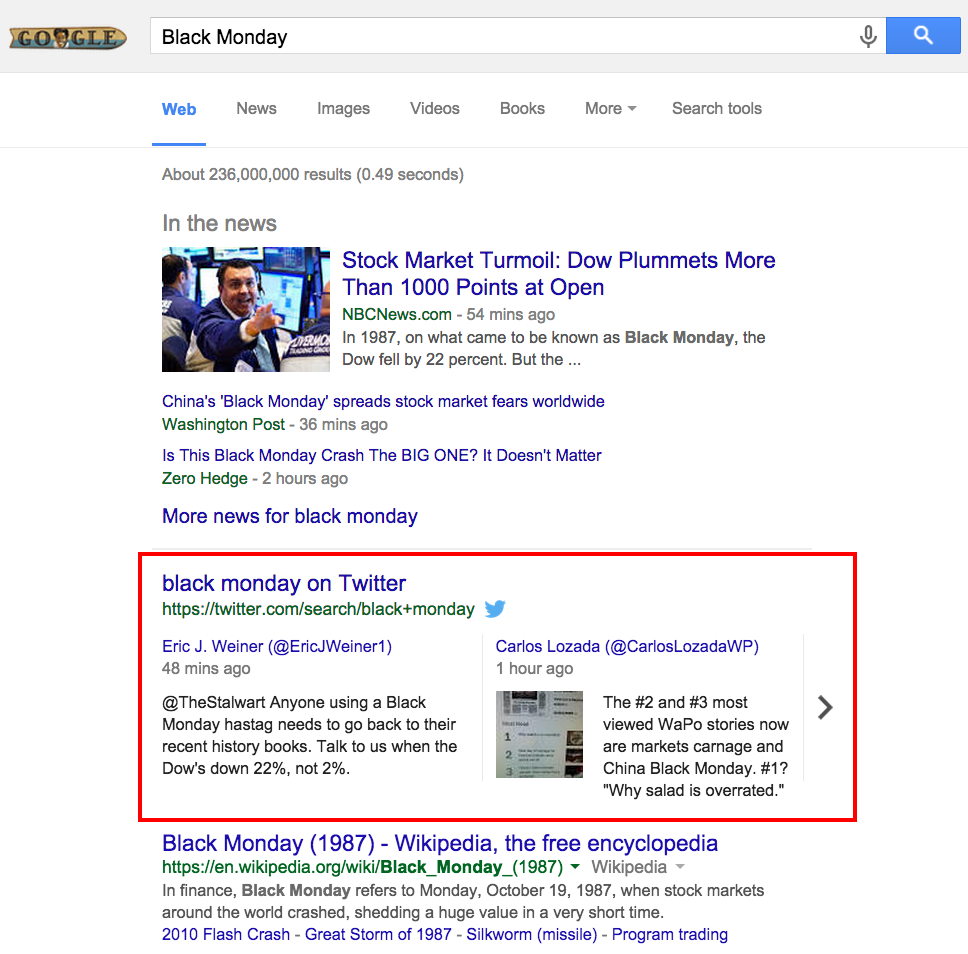 Screenshot: Black Monday Tweets in Google SERPs