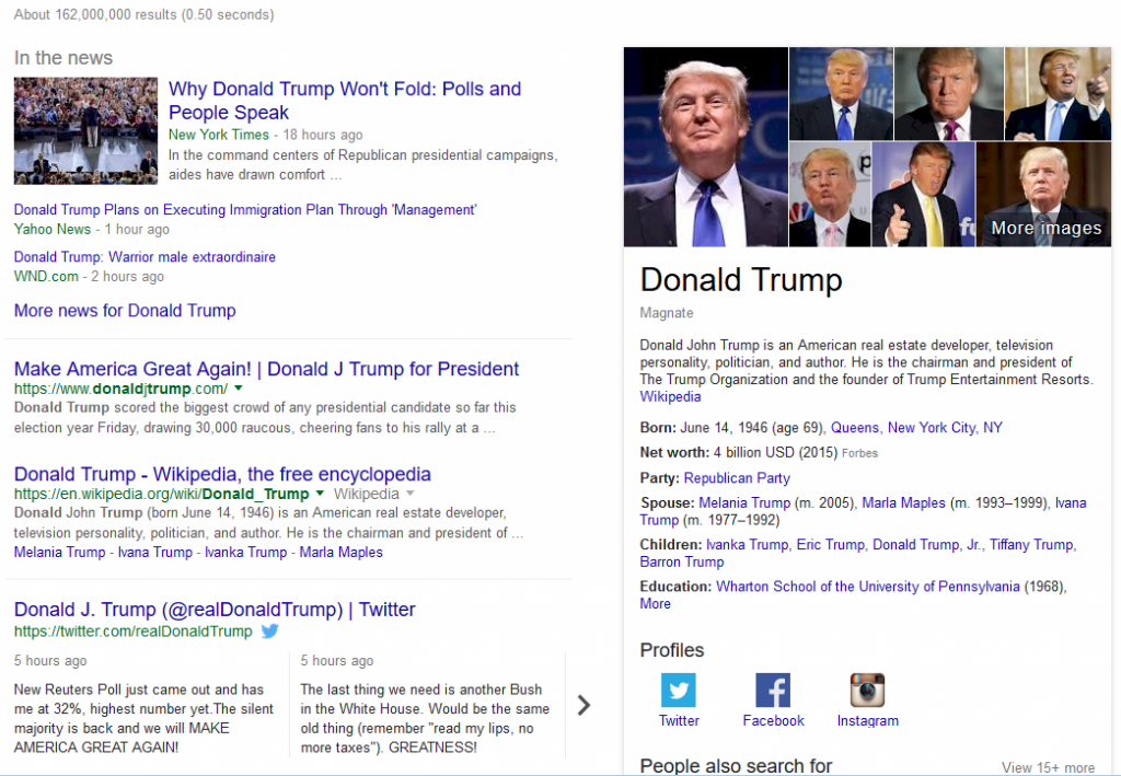 Screenshot: Donald Trump Tweets in Google SERPs
