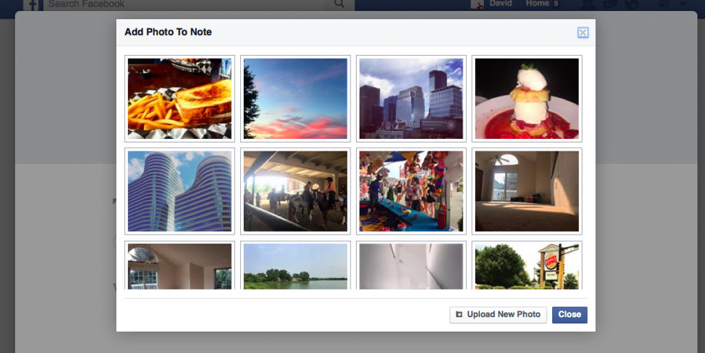 Chart: Facebook Notes - Add A Photo