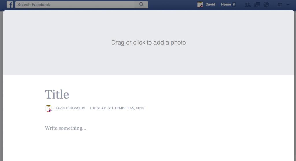 Screenshot: Facebook Notes - Hero Photo Add