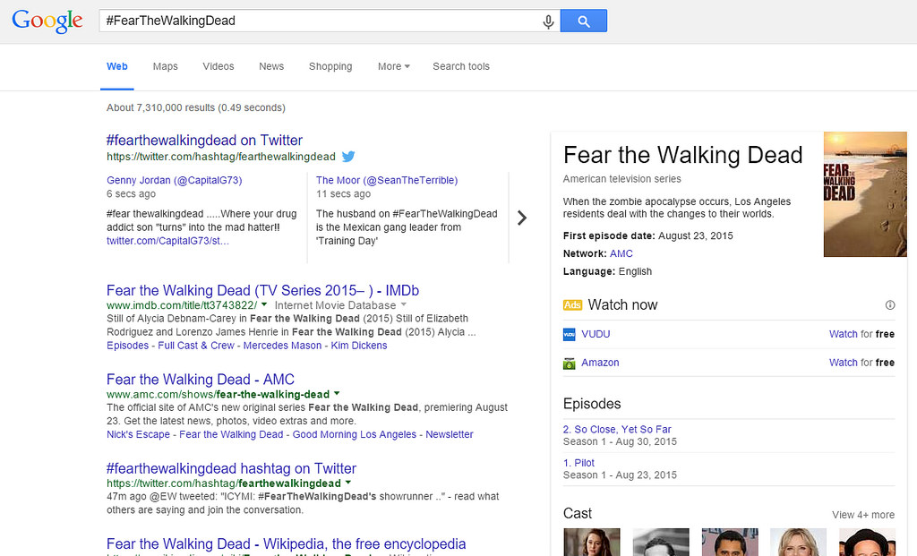 Screenshot: Fear The Walking Dead Tweets In Google SERPS