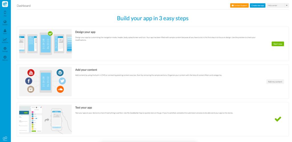 GoodBarber - 3 Easy Steps