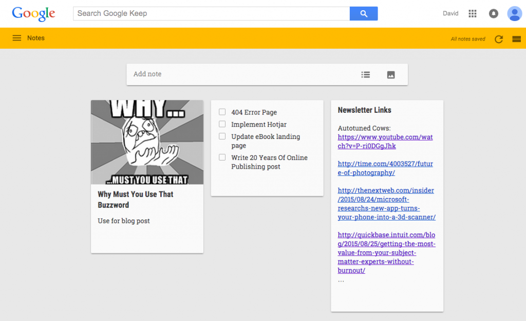 Screenshot: Google Keep Notes