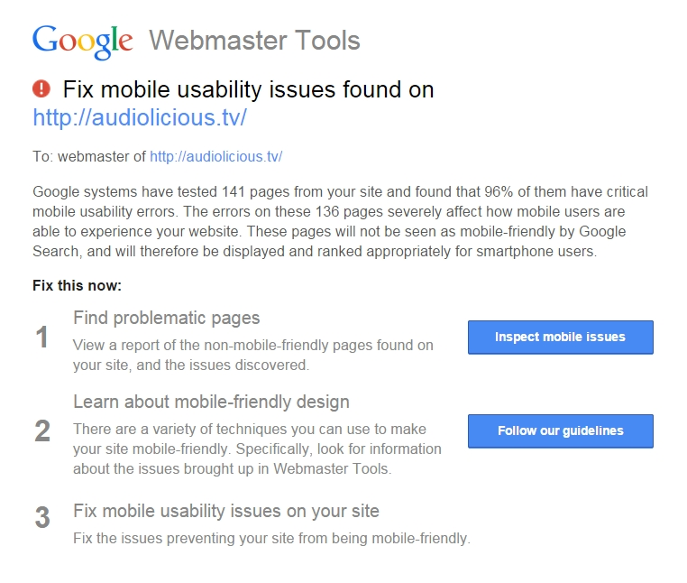Screenshot: Google Webmaster Tools Email Mobile Friendly Website Issues