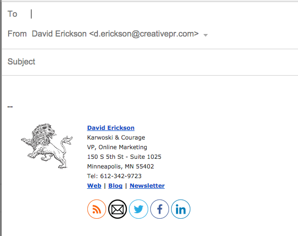 Screenshot: Email Signature, After