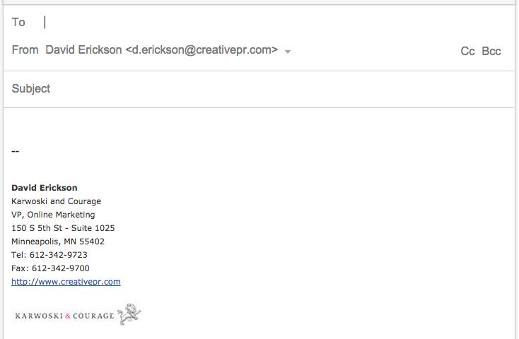 Screenshot: Email Signature - Before