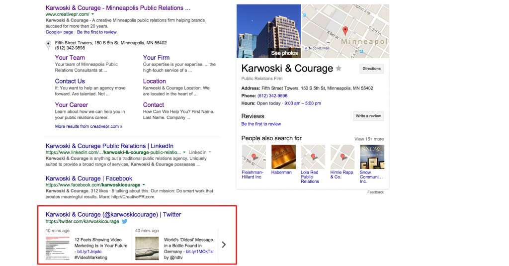 Screenshot: Karwoski and Courage Tweets In Google SERPS