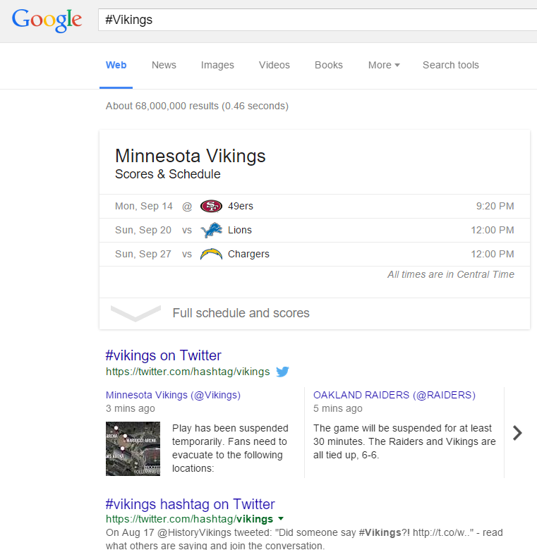 Screenshot: Minnesota Vikings Tweets In Google SERPs