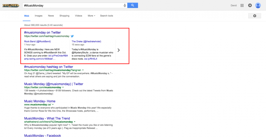 Screenshot: MusicMonday Tweets in Google SERPs