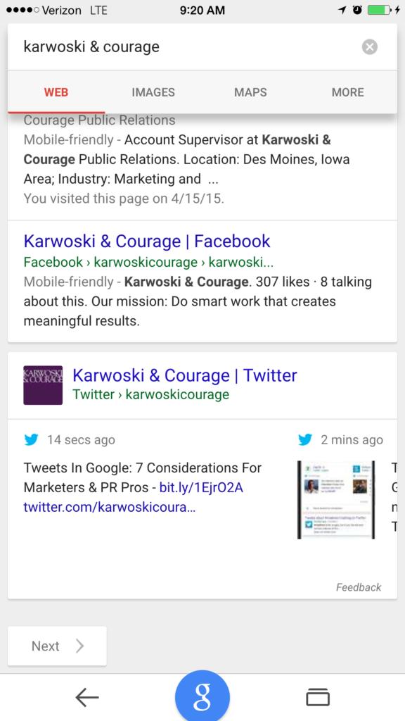 Screenshot: Tweets In Search - KC Tweets