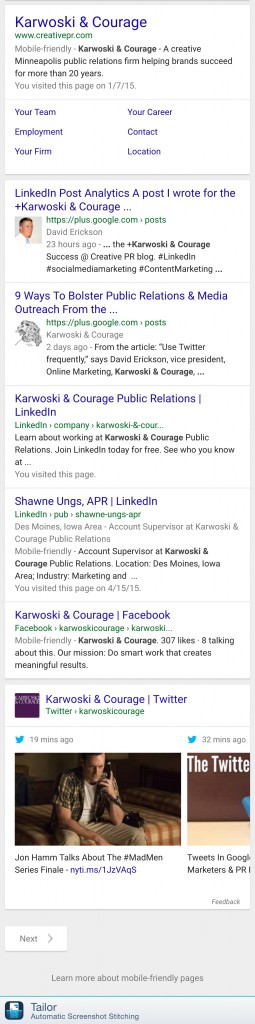 Screenshot: Tweets In Search - Karwoski and Courage Full SERPs