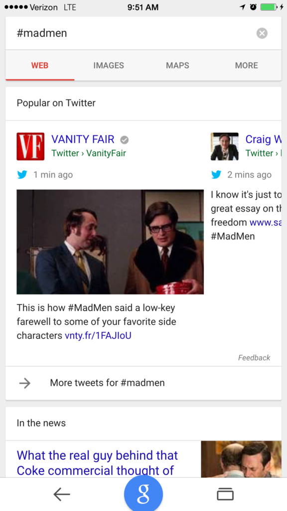 Screenshot: Tweets In Search - Mad Men SERPs