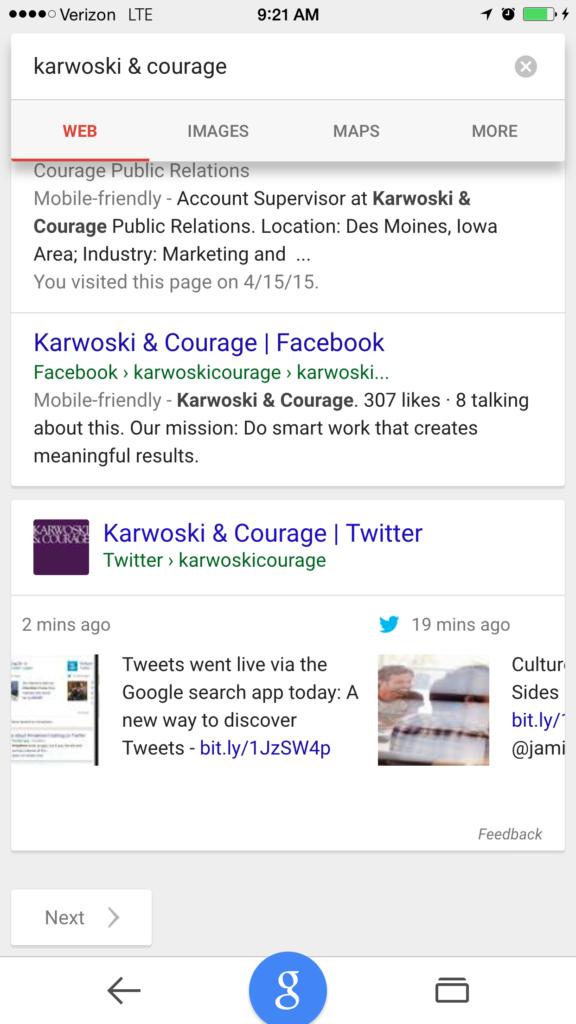 Screenshot: Tweets In Search - Tweet Carousel