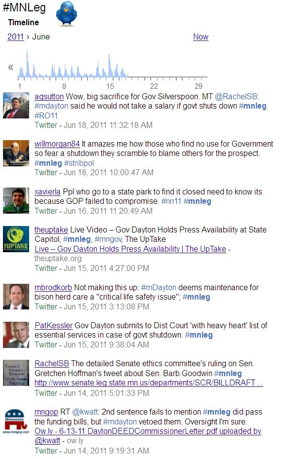 Screenshot: #mnleg Tweets In Google Expanded