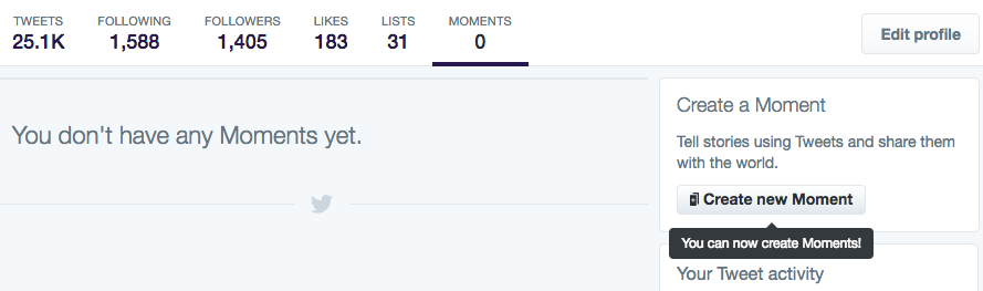 Screenshot: Twitter Moments - Create A New Moment Button