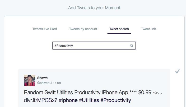 Screenshot: Twitter Moments - Tweet Search