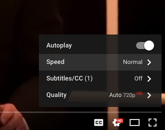 Screenshot: YouTube Settings Menu
