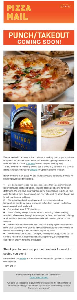 Punch Pizza Reopening Email