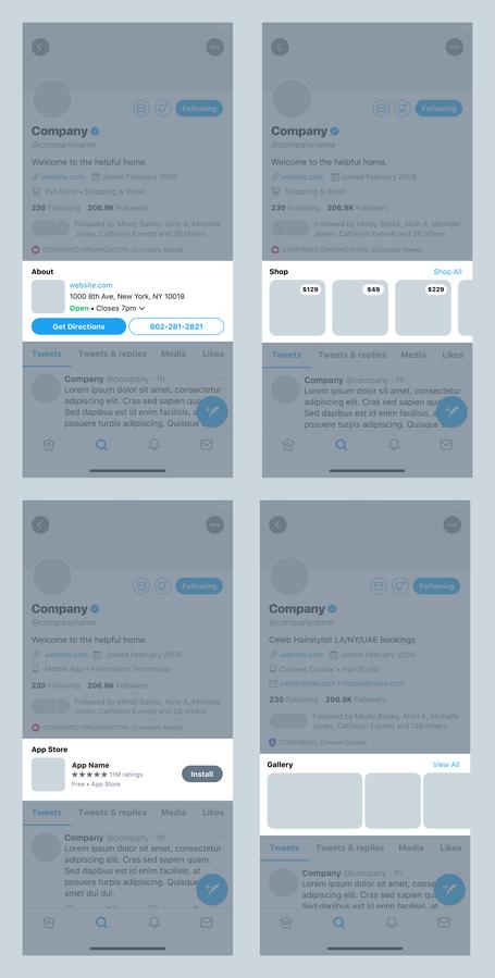 Screenshot: New Twitter Business Profile Customizations