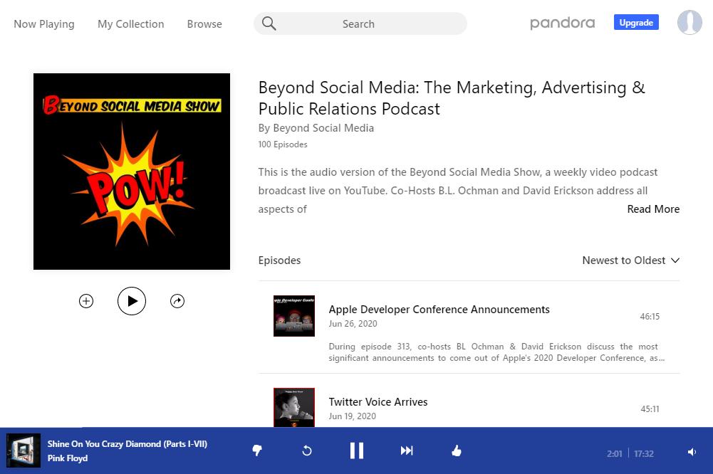 Screenshot: Beyond Social Media Show podcast on Pandora